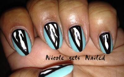 Tiffany Blue Zebra Print Nails Nail Art