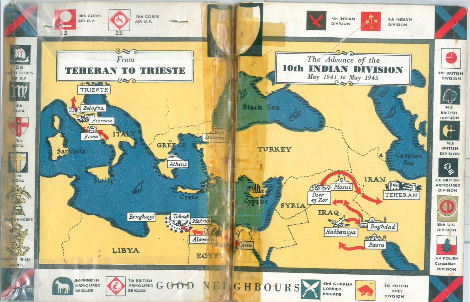 "Teheran to Trieste; The Story of Tenth Indian Divison,  ""We had scrambled thought skirmishes of the Iraq rebellion, been blooded, but not too deeply, against the French in Syria, and enjoyed the unrestrainedly opéra bouffe of the invasion of Persia. We had bought our beer in Haifa and drunk it on the shores of the Caspian. We could move, we could fight, and we had begun to build up that most valuable of all assets a tradition of success. We had a good soldierly conceit of ourselves. Now in March 1942, in spite of dust storms.... it was stimulating to be in what we all felt was a critical spot, waiting for the threatened German invasion of Turkey."" -Major-General William Slim gurkha ww2 history nepal gurkhas gorkha gorkhali sirkukri blog research royal kukri khukuri sword knife"