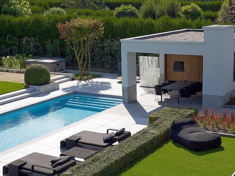 Jardim de Stefania  cerca viva para área da piscina e jardim