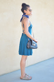 Reformation dress, Reformation Zion dress, Reformation backless dress, bandana style, how to wear a bandana, Birkenstocks style, how to wear Birksnstocks and still look trendy