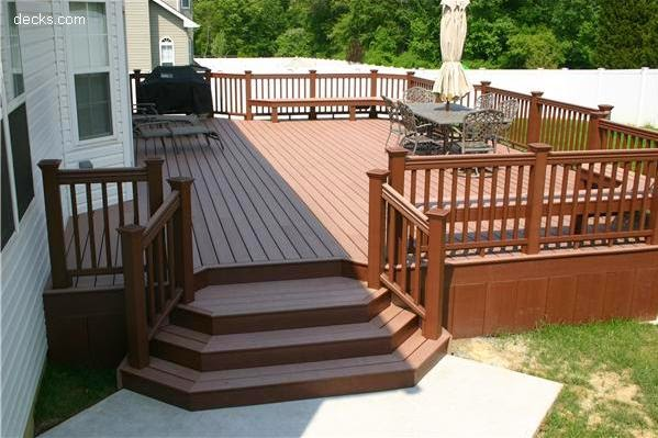 Deck stairs with landing pictures for Backyard deck pictures