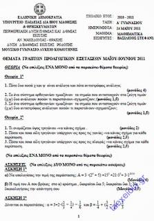 5 Θέματα Εξετάσεων στα Μαθηματικά Α' Γυμνασίου