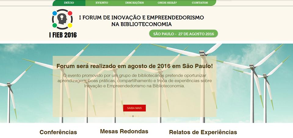 I Fórum de Inovação e Empreendedorismo na Biblioteconomia em 2016