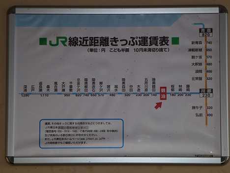 JR東日本 鶴泊駅 運賃表
