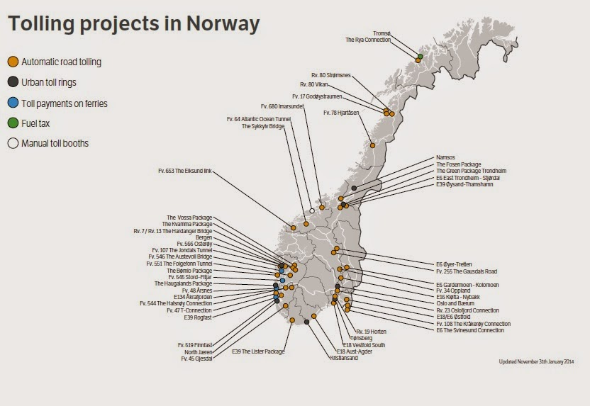 Road pricing norway reviewing future of fuel tax map of norwegian toll roads from norwegian public roads administration publicscrutiny Image collections