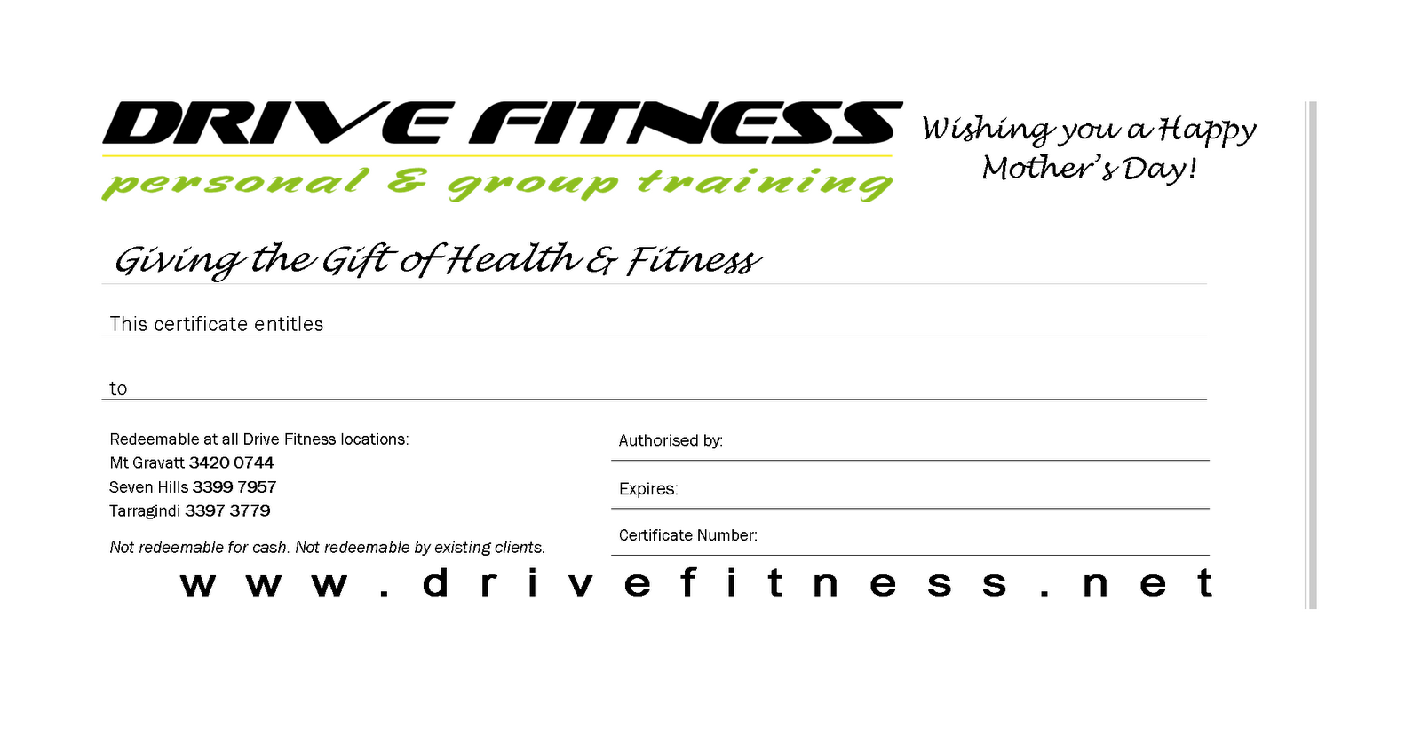 Drive fitness blog mother 39 s day gift certificates for Personal trainer gift certificate template