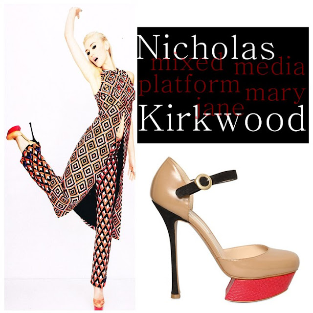 Gwen Stefani wearing Nicholas Kirkwood Mixed media platform mary janes