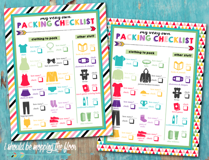 Free Printable Children's Packing Lists | Six designs: three for boys, three for girls | Help kiddos learn to pack!