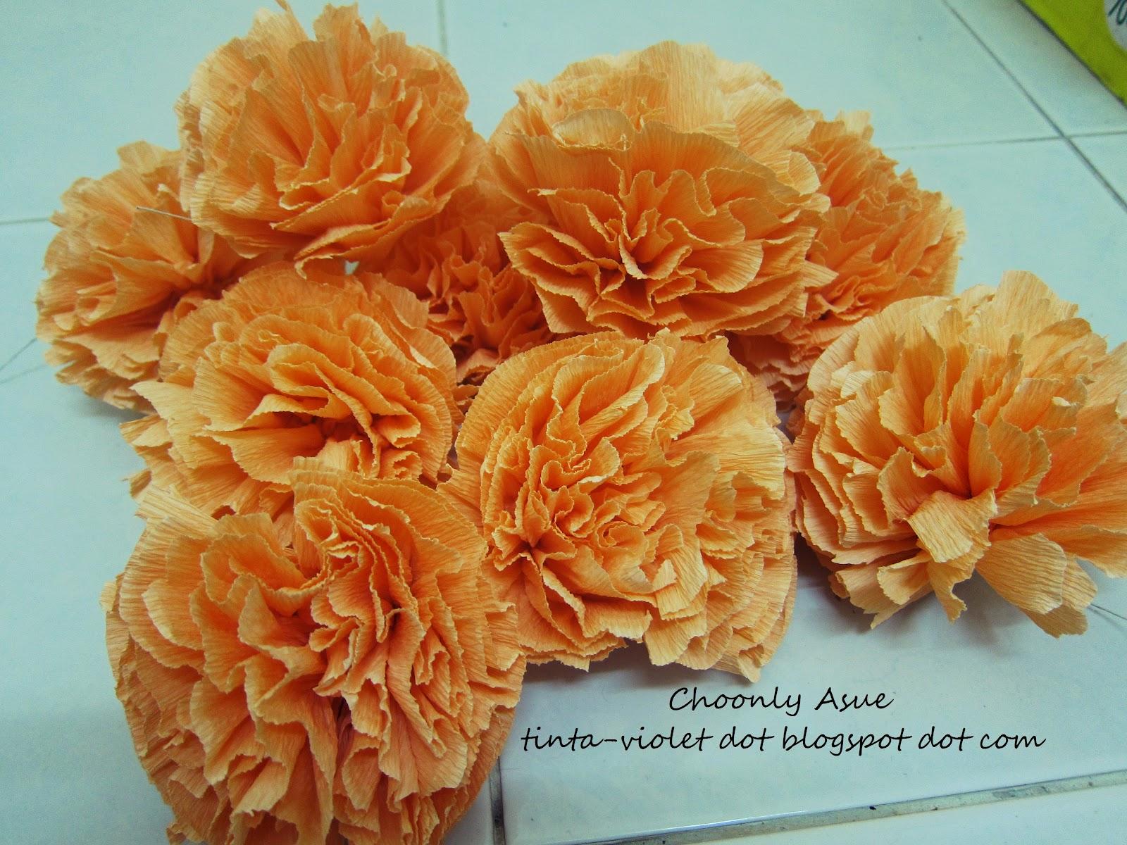 DiY bunga tisue tapi pakai crepe paper | AsueIskandar