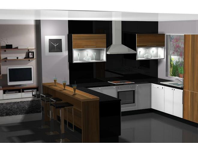 Diseño de cocina en blanco y madera