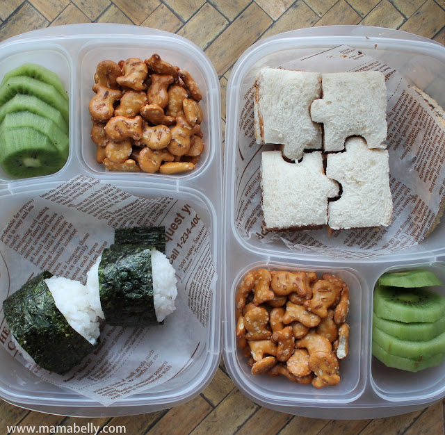 Onigiri and Puzzle Sandwich School Lunches in Easylunchboxes - mamabelly.com