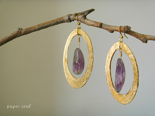 Amethyst+golden+earrings+orecchini+ametista+dorato+paper jewel