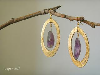 Amethyst+golden+earrings+orecchini+ametista+dorato+paper jewel