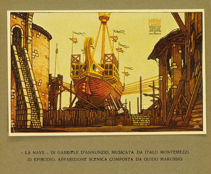Guido Marussig's set design for the 3rd Episode of La Nave for the premiere at La Scala in 1918
