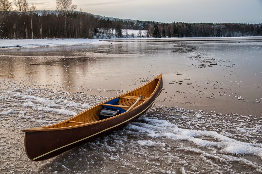 Canoe on ice.