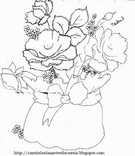 risco de cachepo com rosas para pintar