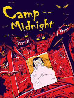 Cover image for 'Camp Midnight' by Steven T. Seagle. A girl cowers in her bed, surrounded on all sides by leering, fanged monsters with reaching clawed hands