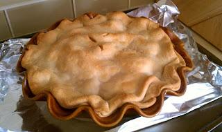 Freshly baked double crust apple pie