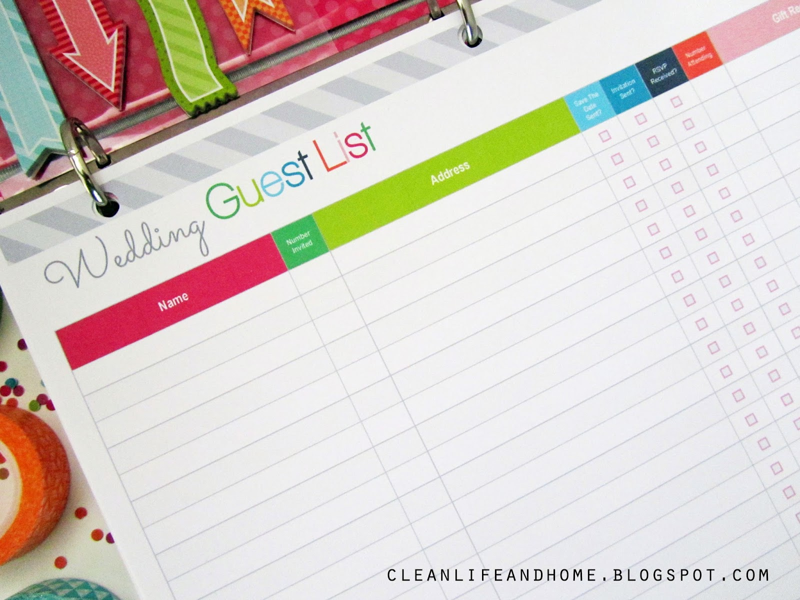 Clean Life and Home Freebie Friday Printable Wedding Guest List