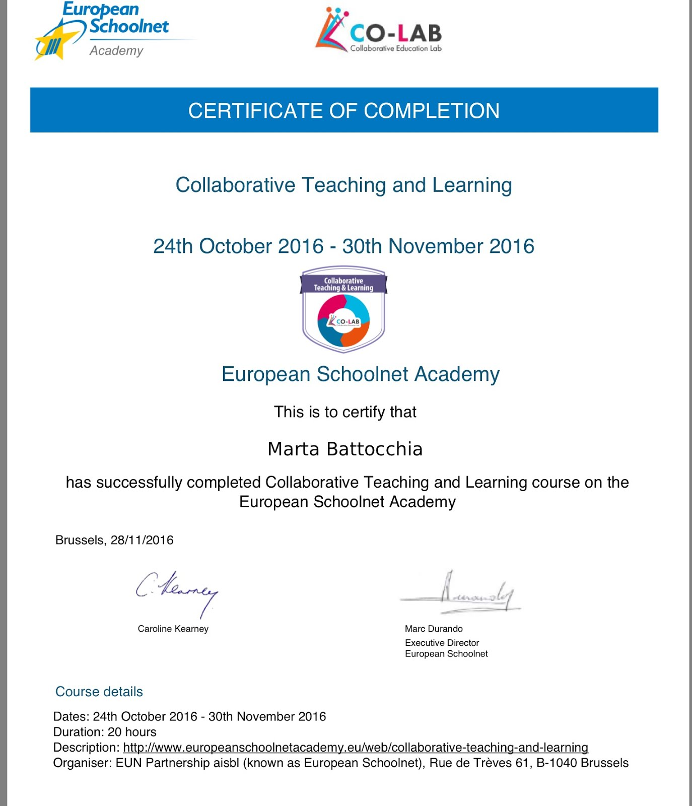 Collaborative teaching and learning course