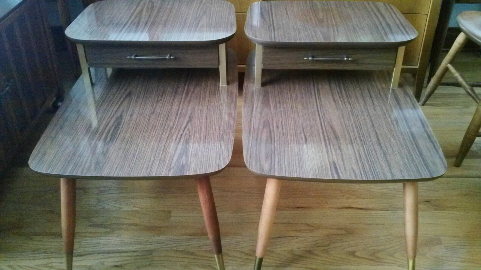 Mid Century Modern Laminate Side Tables Coffee Table Set