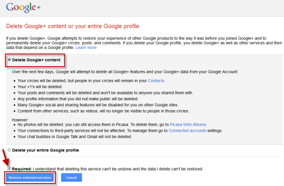 On the next page, mark the option ''Delete Google+ Content'' and then