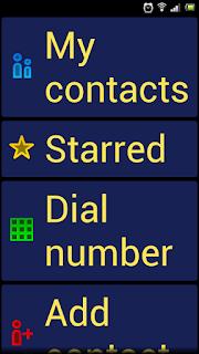 Em alto contraste. Fundo azul, letras grandes amarelas está escrito em inglês: meus contatos, Com estrela, Números, Adicionar contatos