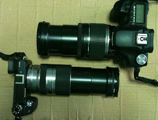 Canon-50D and Sony NEX-6 with zoom lens full extended