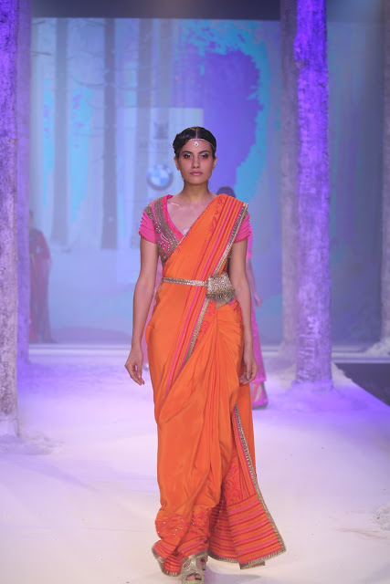 JJValaya-BMW-Indian-Bridal_Fashion-Week-orange-saree