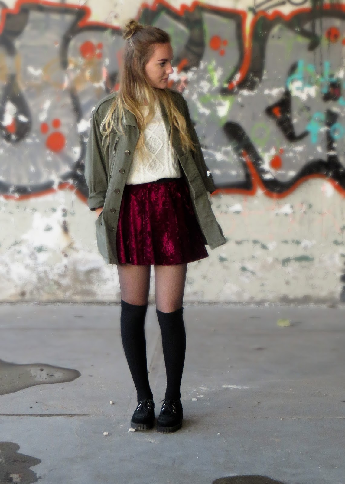 Outfit with army green jacket and velvet skirt