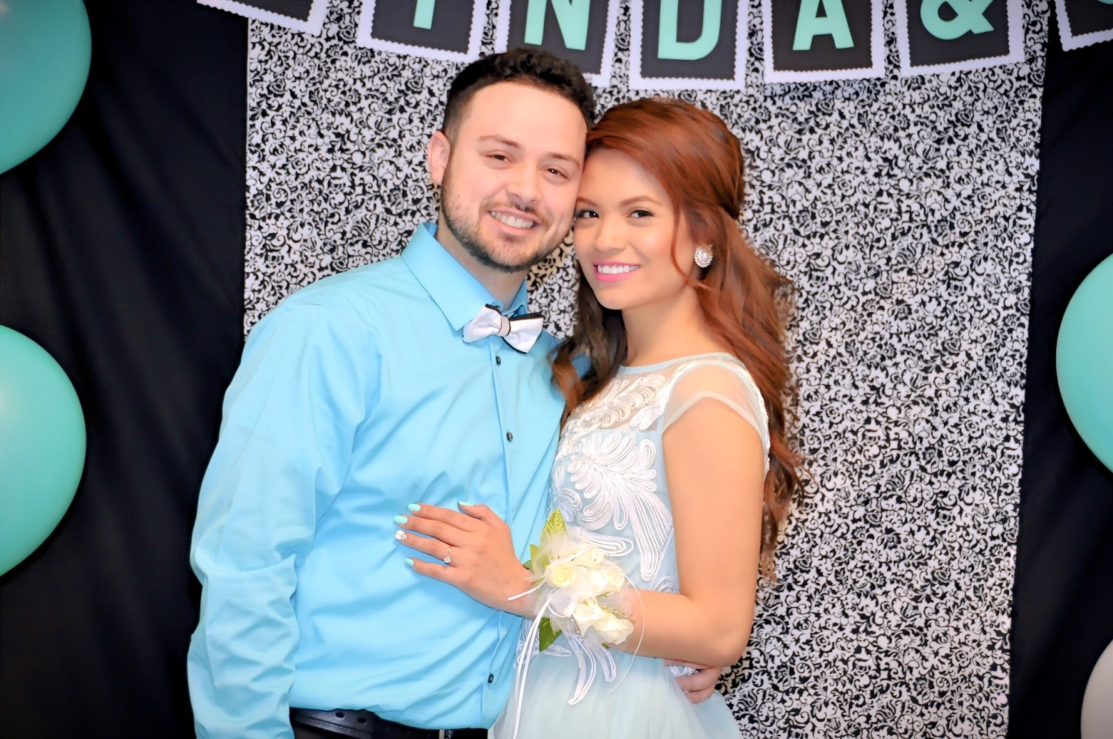 the attire of the bridal shower was a classic black and white for our guests and ricardo and i wore the contrasting colors the iconic tiffany blue