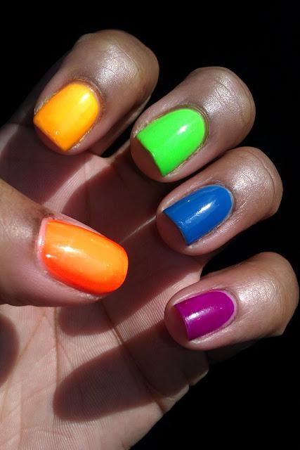 Neon, skittles, nail art, mani