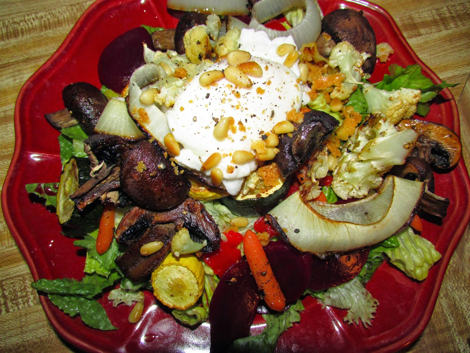 ... Roasted Vegetable Salad with Poached Egg and Parmesan Pine Nuts