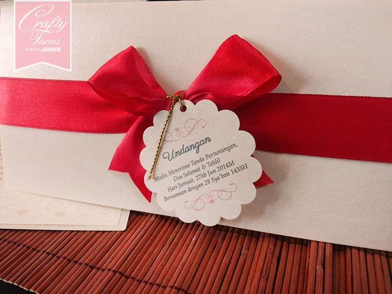 Classy Red Modern Malay Side Fold Wedding Card