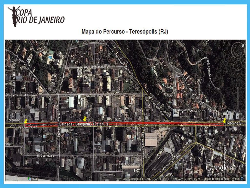 Mapa do percurso em Teresópolis