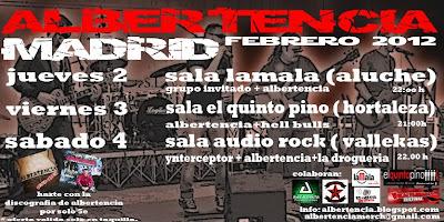 Albertencia Tour Madrid Febrero 2012 los días 2, 3 y 4