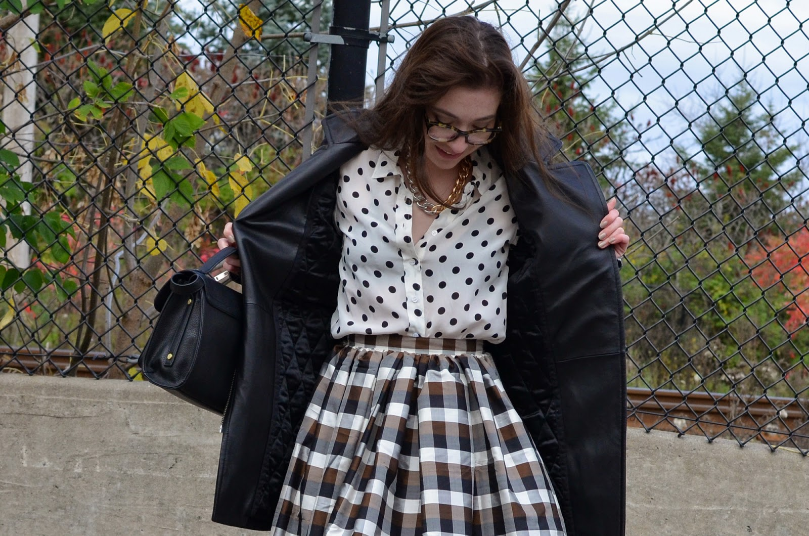 OOTD ft. a handmade silk skirt, my Prada flats, polka dots by Joe Fresh, and my Aritzia coat