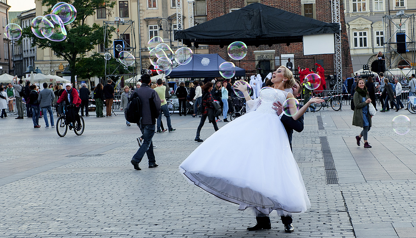 Krakow Poland Old Town Square Wedding Bride