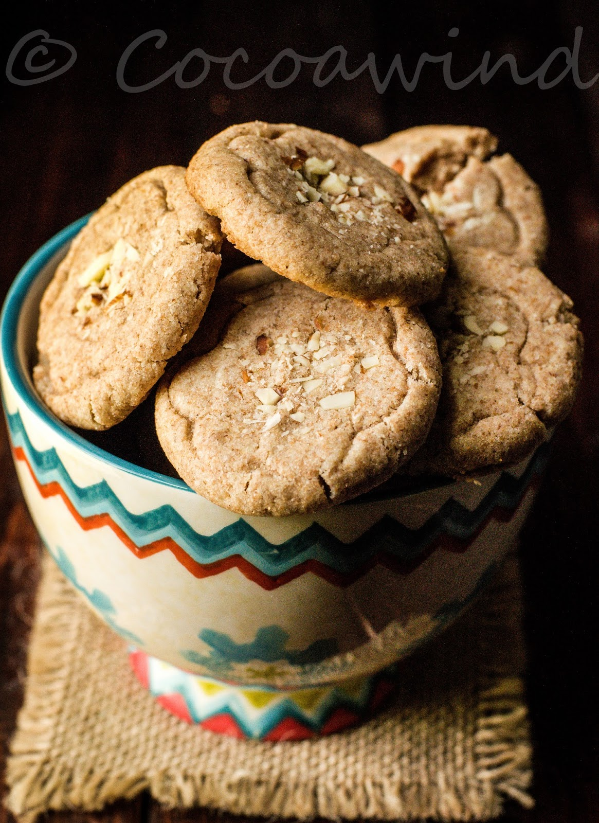 Eggless Whole wheat Almond Meal Cookies