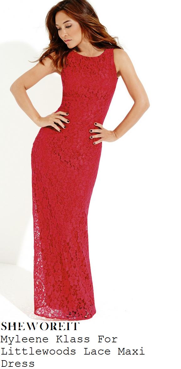 myleene-klass-pink-fuschia-red-sleeveless-lace-maxi-dress-gown