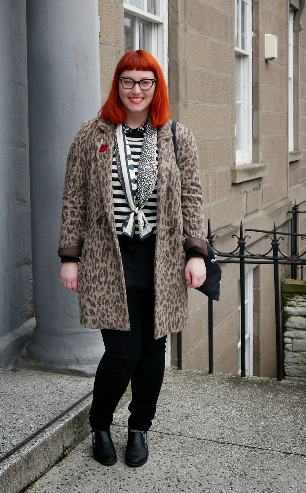 Scottish bloggers, Dundee, Dundee Contemporary arts, DCA, Art Exhibition, what Helen wore, monochrome outfite, H&M jewelled collar shirt, stripey Zara Jumper, Karen Mabon penquin Scarf, googley eye bag, red head, scottish street style, Dundee street style, Warehouse leopard print coat, comfy clarks shoes, work outfit, workwear, basic black jeans