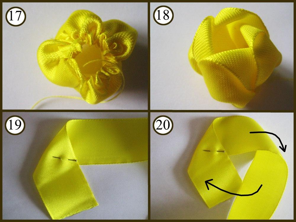 Как сделать розу из атласных лент мастер-класс