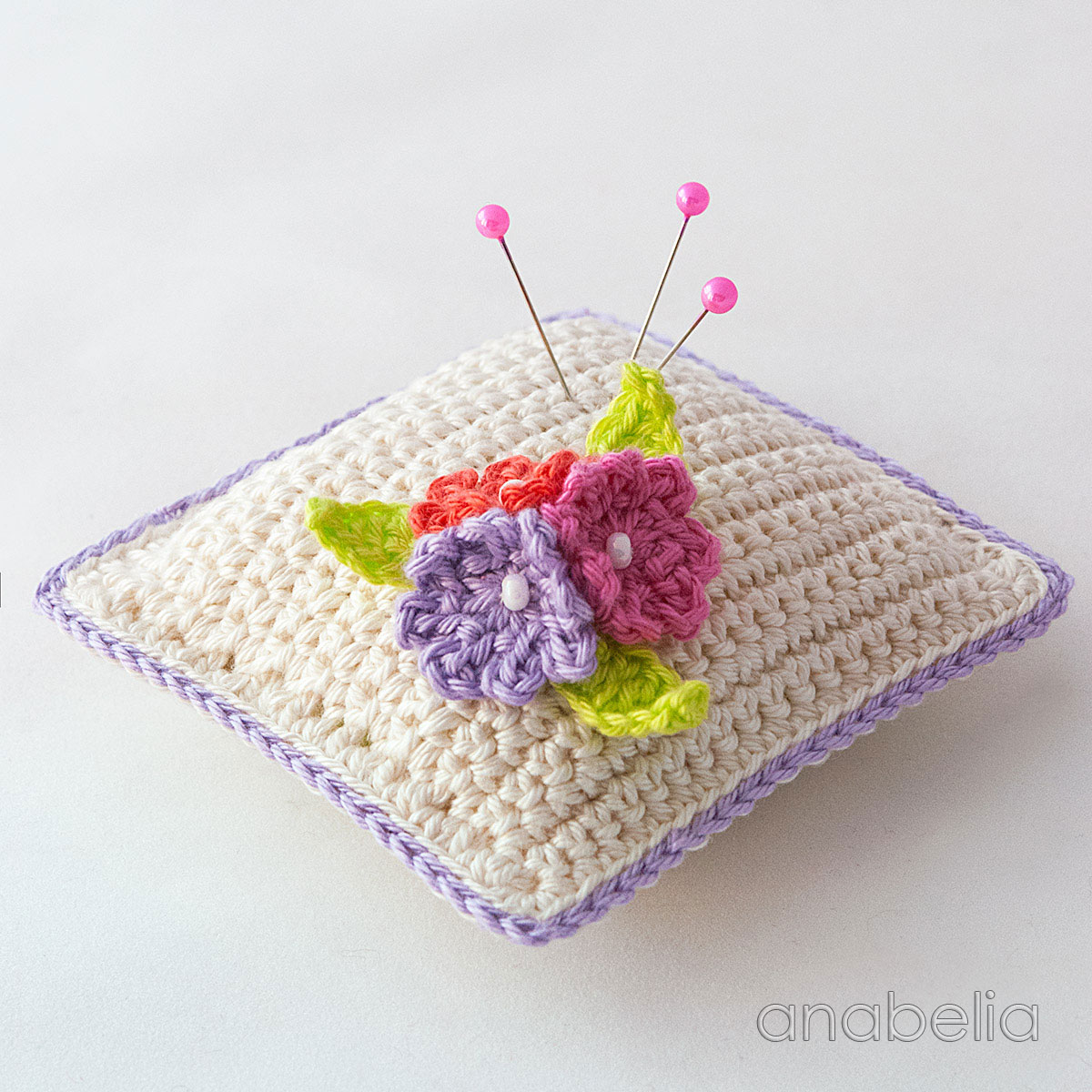 anabelia craft design small flowers crochet pincushion