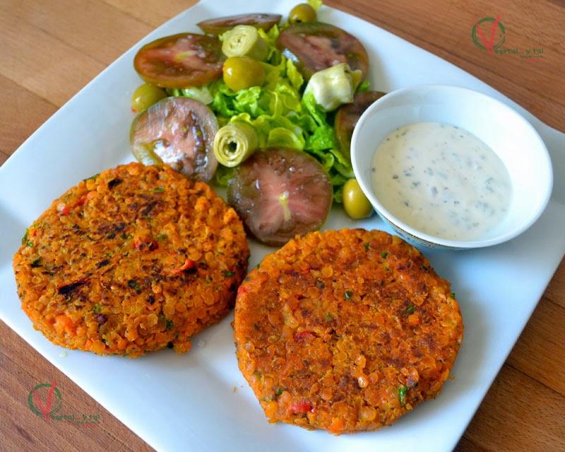 Vegetal y tal hamburguesas de lentejas rojas y verduras - Hamburguesa de verduras ...