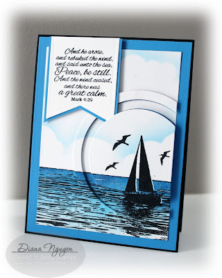 Diana Nguyen, Sweet 'n Sassy Stamps, The sea, monochromatic, card