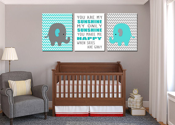 Dormitorios para beb en gris y turquesa ideas para for Habitacion blanca y turquesa