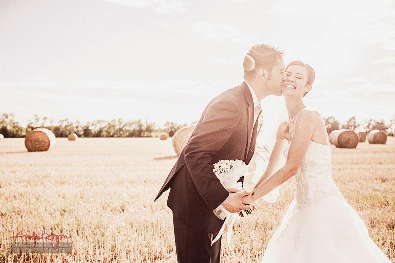 sposi e bacio in campo di grano matrimonio Alessandria