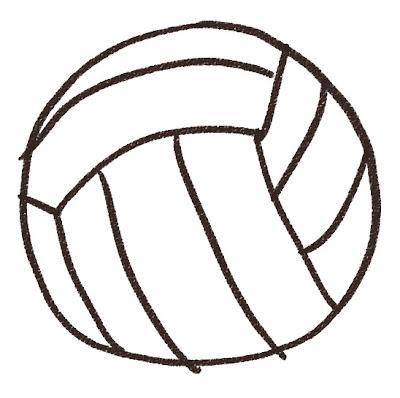 バレーボールのイラスト(スポーツ器具) モノクロ線画