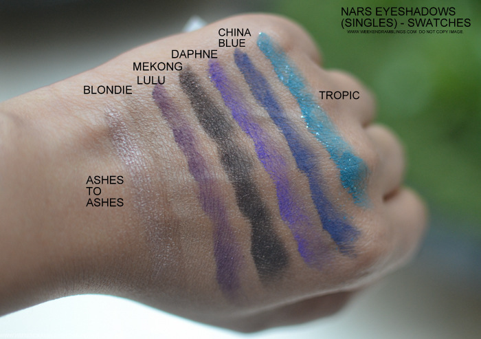 Nars Ashes to Ashes Blondie Lulu Mekong Daphne China Blue Tropic Swatches Indian Beauty makeup Blog