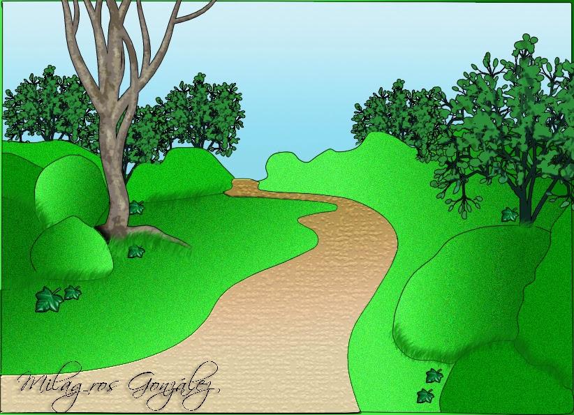 dibujo de un bosque